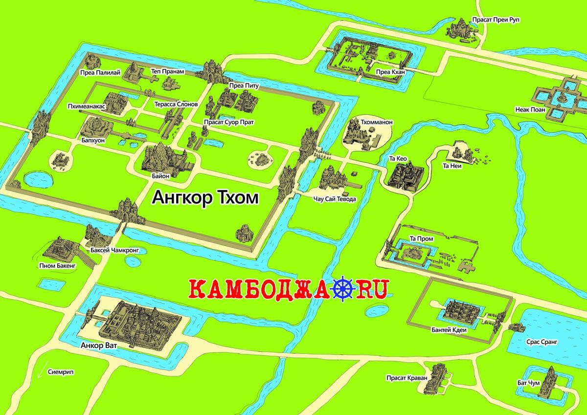 Карта храмов Ангкора на русском